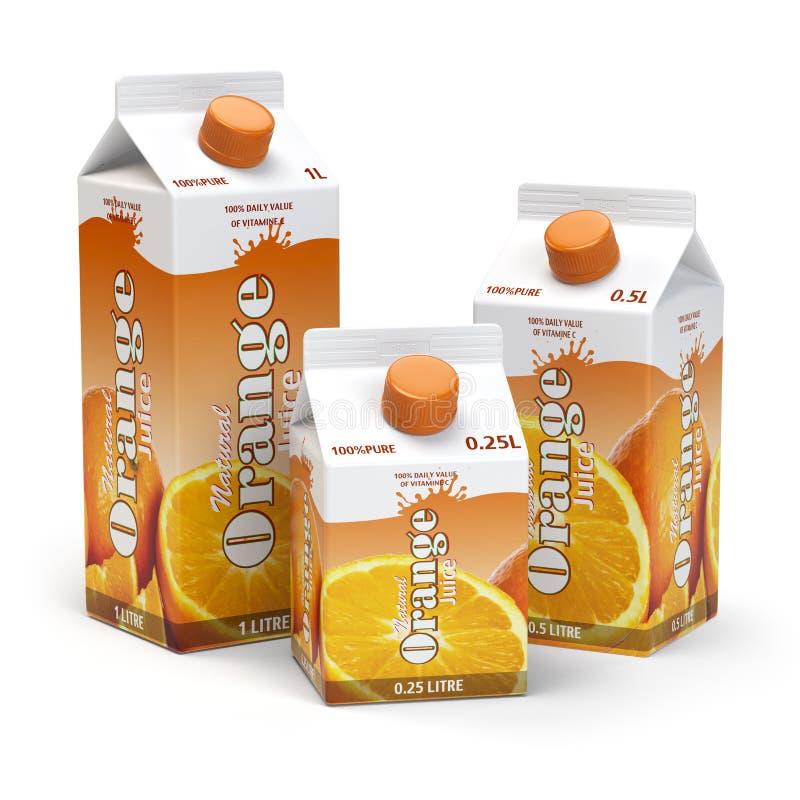 För lådakartong för orange fruktsaft som packe isoleras på den vita backgroen royaltyfri illustrationer