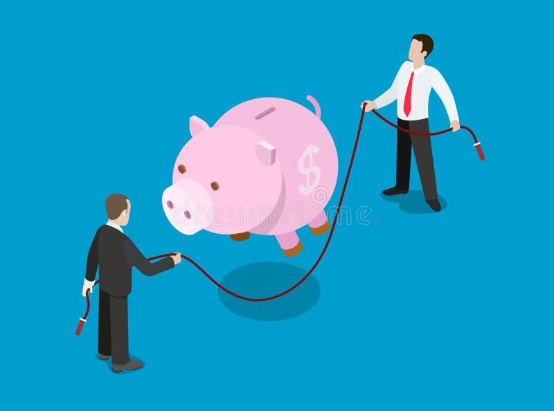 För låninvestering för finansiell kreditering vektor för lägenhet för lösning isometrisk vektor illustrationer