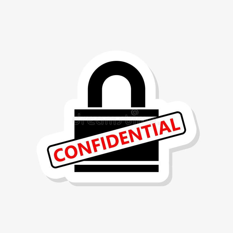 För låsklistermärke för förtrolig information symbol royaltyfri illustrationer