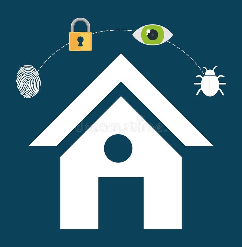 för låssystem för hem- säkerhet fingeravtryck för vaksamhet royaltyfri illustrationer