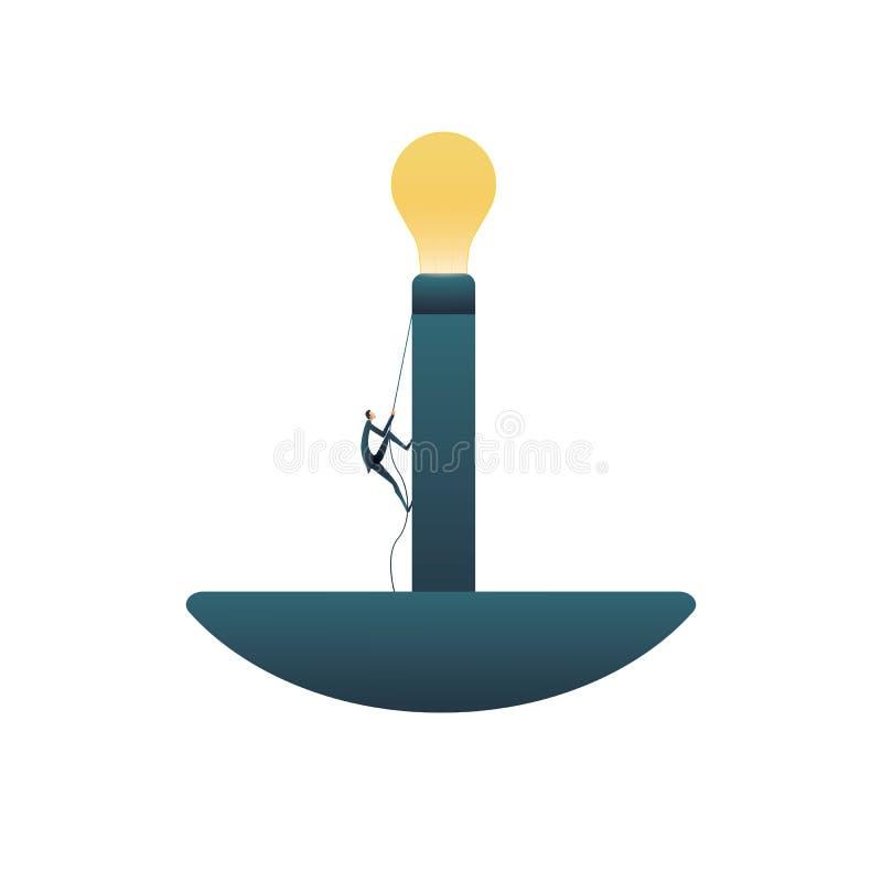 För lösningsvektor för affär idérikt begrepp med affärsmannen som klättrar in mot lightbulben Symbol av nya idéer som tänker stock illustrationer