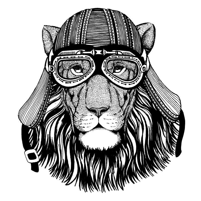 För löst hjälm för motorcykel cyklistdjur för lejon bärande r stock illustrationer