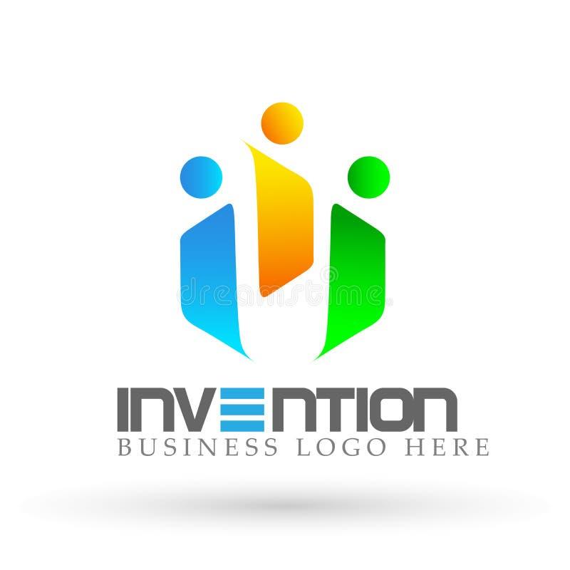 För lagarbete för abstrakt folk investerar den fackliga logoen för gruppen, på företags affärslogodesign Finansiell investering p royaltyfri illustrationer