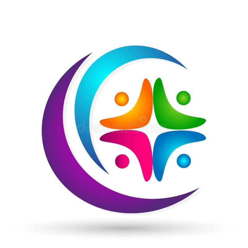 För lagarbete för folk vektor för beståndsdel för symbol för logo för gemenskap för facklig wellness social på vit bakgrund royaltyfri illustrationer