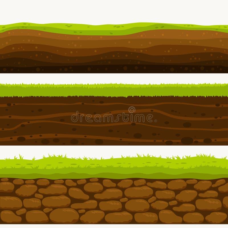 För lagerjordning för jord sömlöst lager Stenar och gräs på smutser vektor stock illustrationer