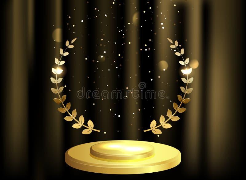För lagerkrans för detaljerad runda guld- utmärkelse på sammetgardinbakgrund och etapppodiet vektor illustrationer