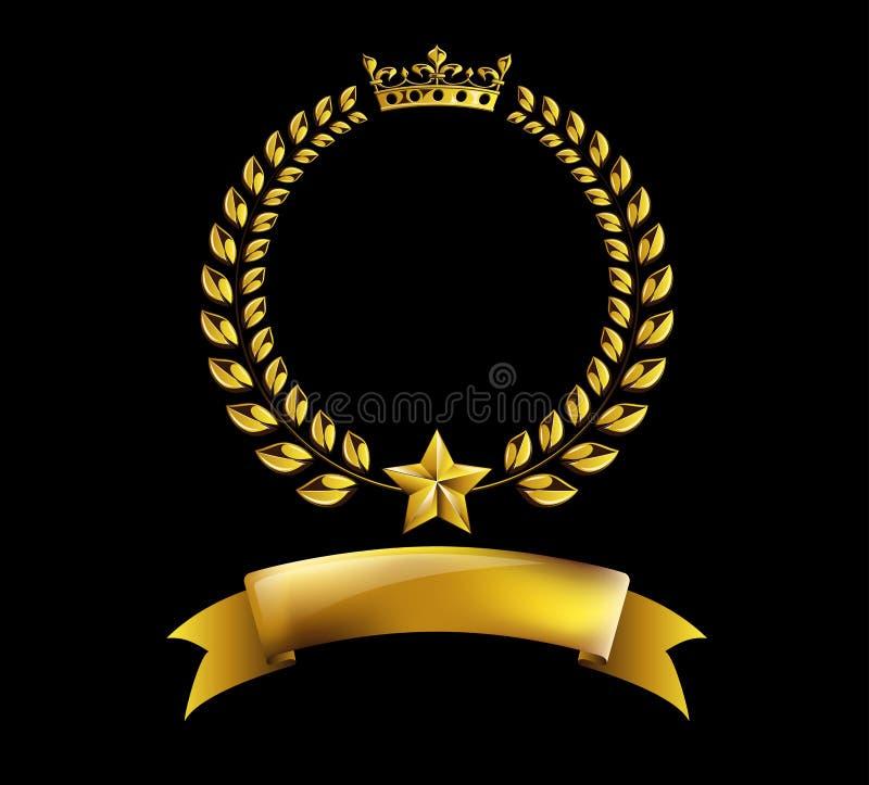 För lagerkrans för vektor rund guld- ram för utmärkelse på svart bakgrund stock illustrationer