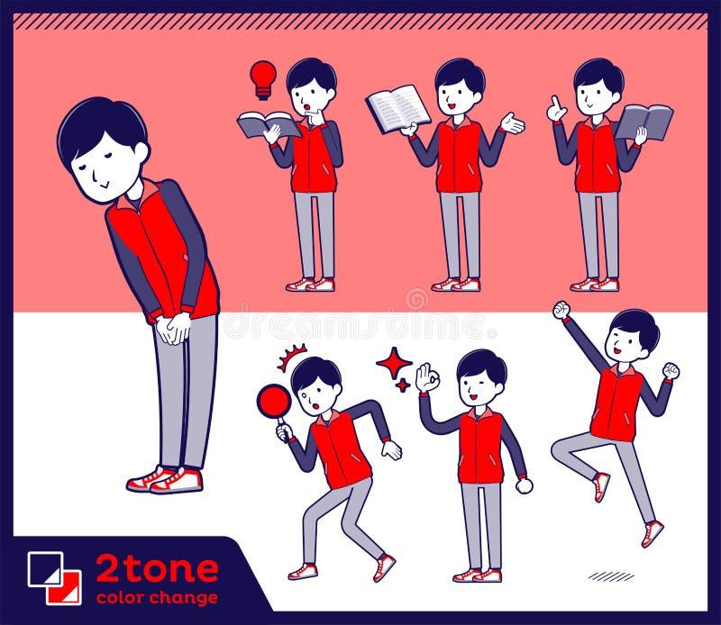 för lagerpersonal för typ 2tone röd enhetlig men_set 05 royaltyfri illustrationer