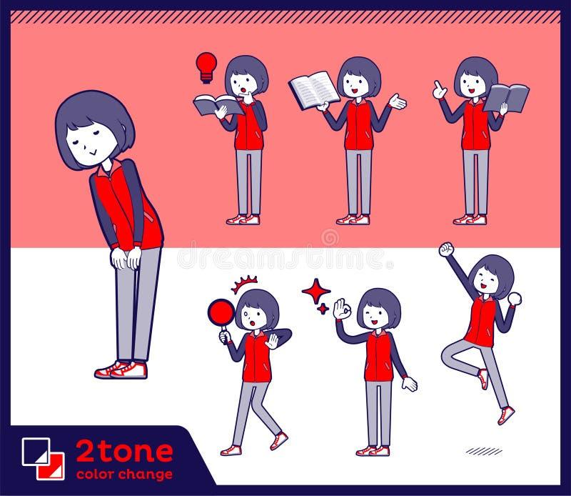 för lagerpersonal för typ 2tone röd enhetlig women_set 05 stock illustrationer