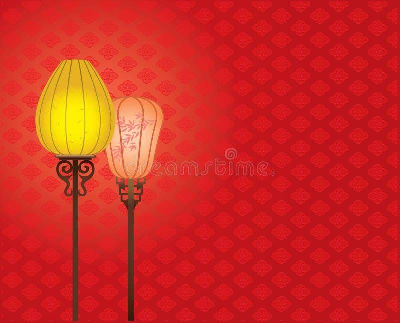 för lampmodell för bakgrund kinesisk stil för red stock illustrationer