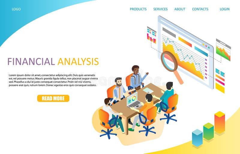För landningsida för finansiell analys mall för vektor för website royaltyfri illustrationer