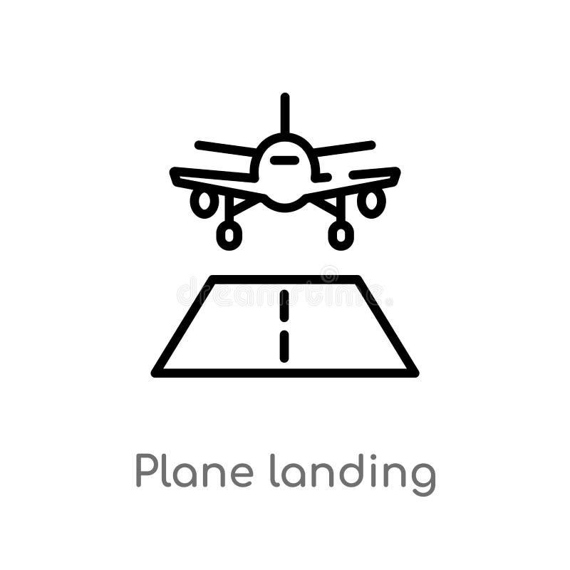för landningvektor för översikt plan symbol isolerad svart enkel linje beståndsdelillustration från begrepp för flygplatsterminal vektor illustrationer