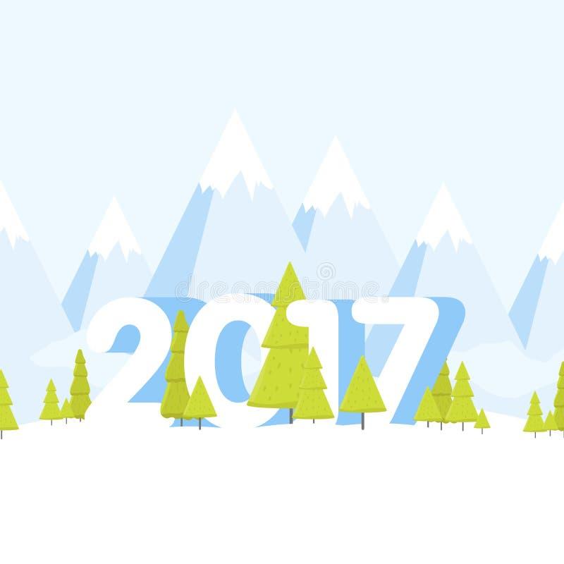 För landskapbegrepp för lyckligt nytt år illustration för vektor för tecknad film vektor illustrationer