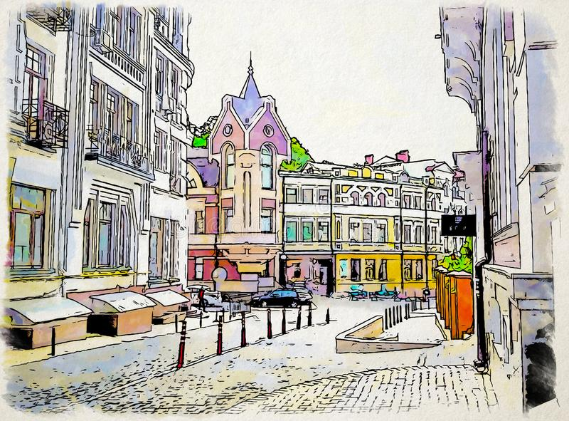 För för landskapvattenfärgen och färgpulver för konstverk ink det stads- stads- landskapet K stock illustrationer