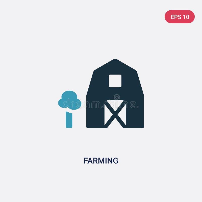 För lantbrukvektor för två färg symbol från naturbegrepp det isolerade blåa bruka vektorteckensymbolet kan vara bruk för rengörin royaltyfri illustrationer