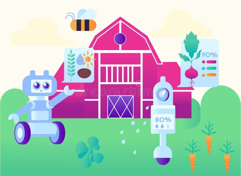 För lantgårdtecknad film för automation modern smart illustration stock illustrationer