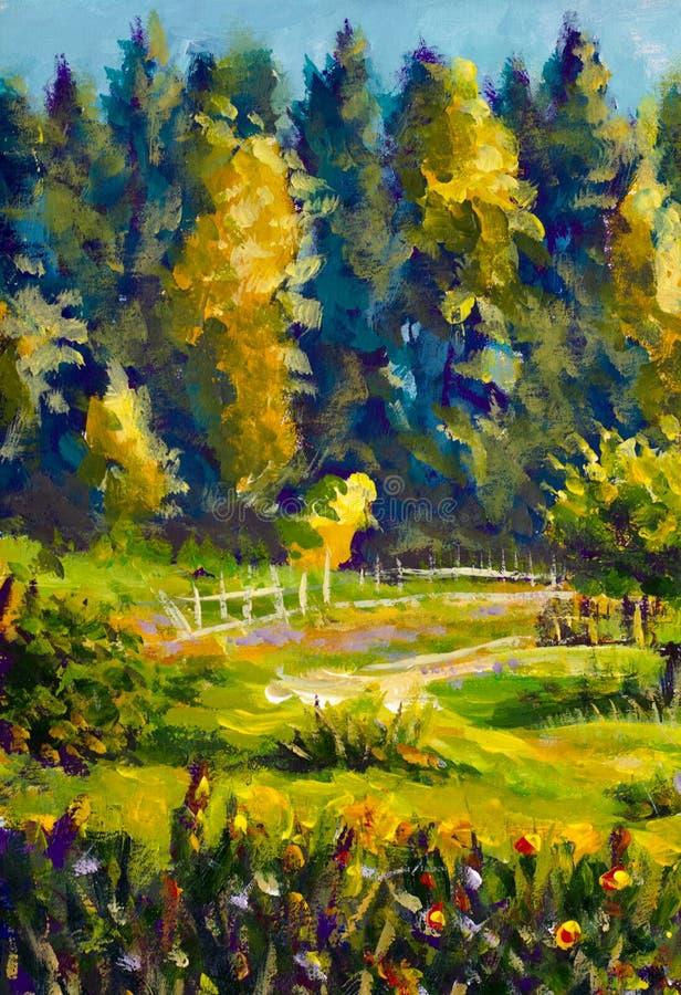 För lantlig soligt landskap målningby för impressionism, guling, modernt konstverk för grön skog för sommarlandskapbakgrund vektor illustrationer