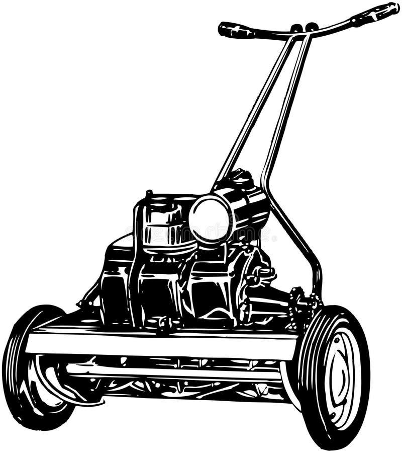 för lawngräsklippningsmaskin för bakgrund clipping isolerad white för bana vektor illustrationer