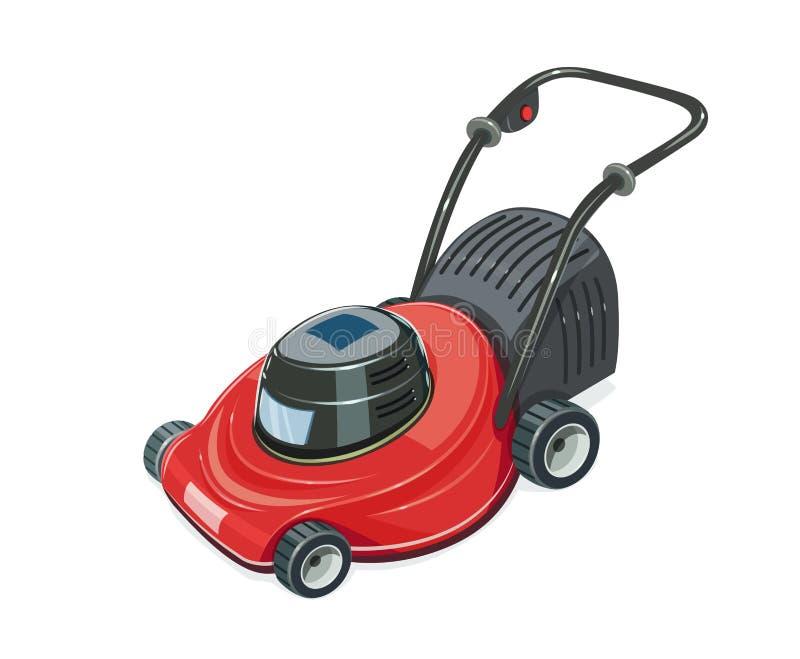 för lawngräsklippningsmaskin för bakgrund clipping isolerad white för bana Trädgårds- bevattna för tool vektor illustrationer
