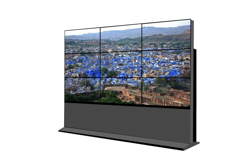 för LCD-TV för plasma 3X3 skärm på en panelställning som isoleras på vit bakgrund royaltyfri bild