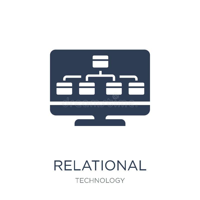 För ledningsystem för relations- databas symbol Moderiktig plan vektor R stock illustrationer