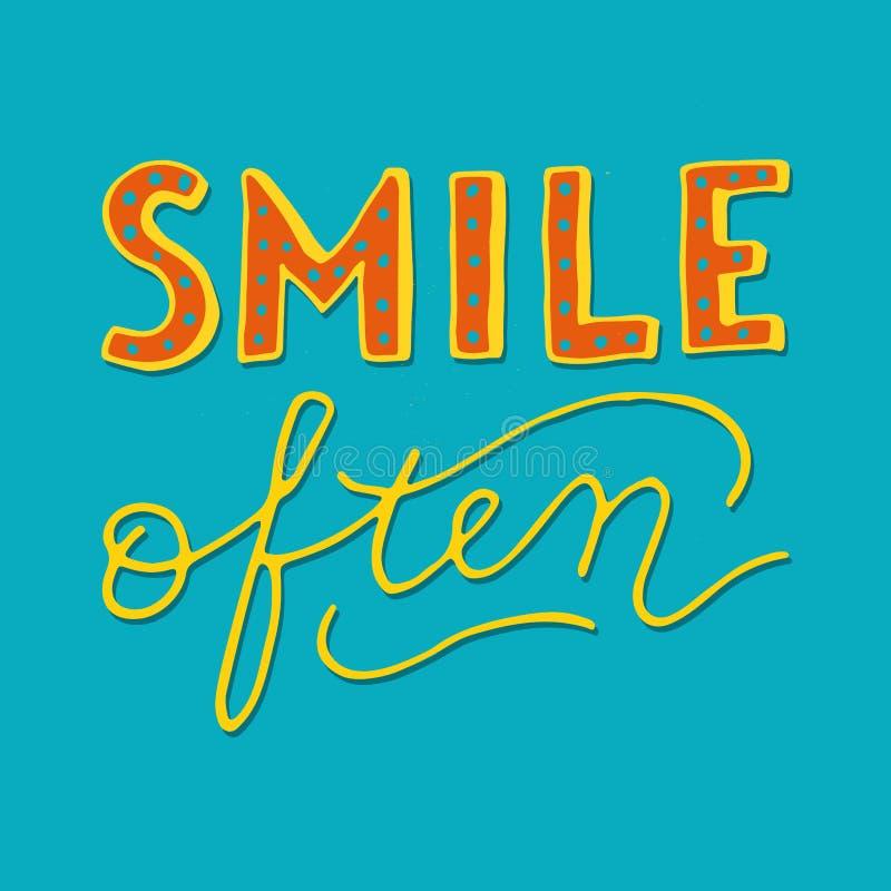 För leende för stilhand ofta - retro bokstäver vektor illustrationer