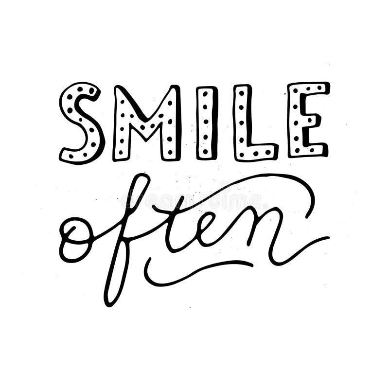 För leende för stilhand ofta - retro bokstäver stock illustrationer