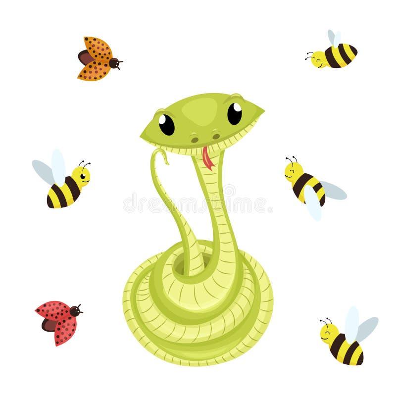 För leendeorm för tecknad film gullig grön illustration för djur för vektor stock illustrationer