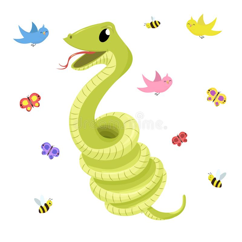 För leendeorm för tecknad film gullig grön illustration för djur för vektor vektor illustrationer