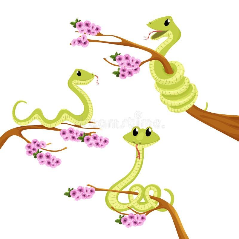 För leendeorm för tecknad film gullig grön illustration för djur för vektor royaltyfri illustrationer