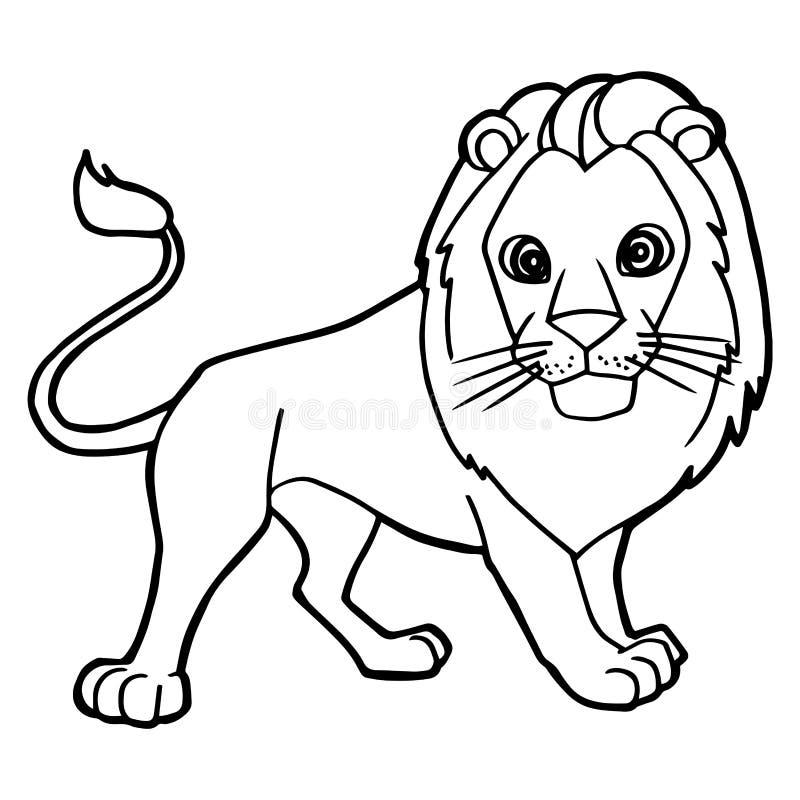 För lejonfärgläggning för tecknad film gullig vektor för sida stock illustrationer