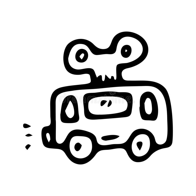 För leksakbuss för hand utdraget klotter Skissa barns leksaksymbolen Decoratio vektor illustrationer