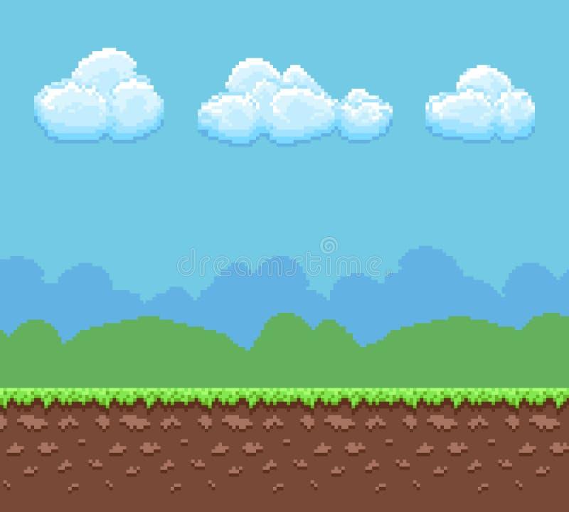 För lekvektor för PIXEL 8bit bakgrund med jord och molnig himmelpanorama royaltyfri illustrationer
