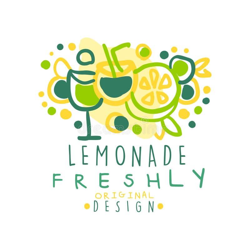 För lemonad original- designlogo nytt, naturlig sund illustration för vektor för produktemblem färgrik hand dragen stock illustrationer