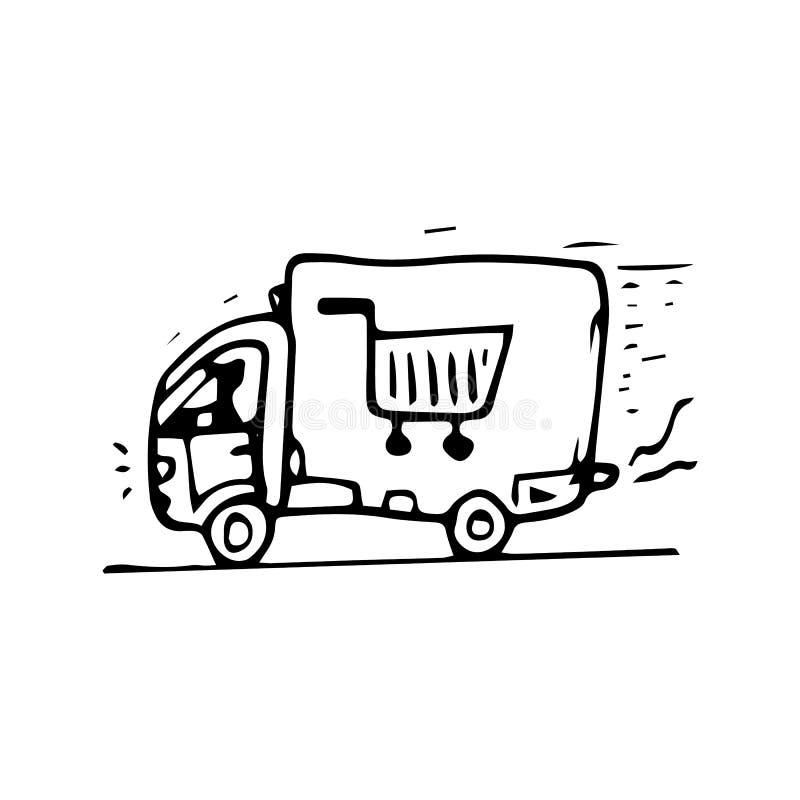 För leveranslastbil för hand utdraget klotter Skissa stilsymbolen Taget i Genua, Italien bakgrund isolerad white Plan design vekt vektor illustrationer