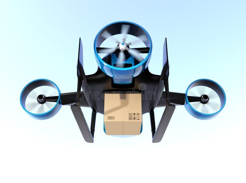 För leveranspacke för metalliskt blått VTOL surr bärande flyg i himlen vektor illustrationer