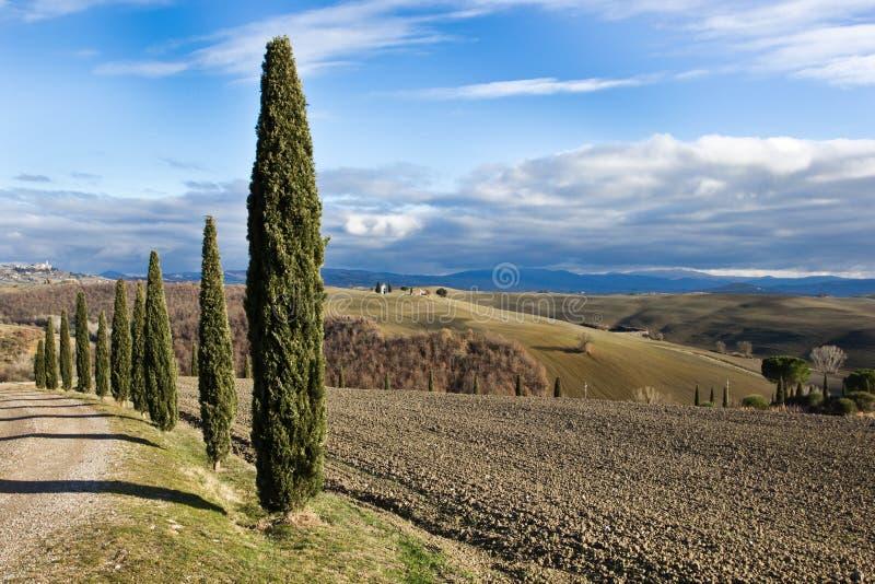 för liggandeorcia för D italy tuscan val vinter arkivbilder