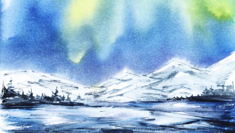 för ligganderussia för 33c januari ural vinter temperatur Avlägsna snöig berg stock illustrationer