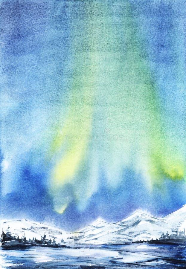 för ligganderussia för 33c januari ural vinter temperatur Avlägsna snöig berg Mörk kontur av den prydliga skogen, dentäckte dalen stock illustrationer