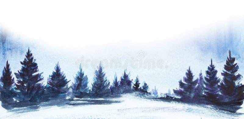 för ligganderussia för 33c januari ural vinter temperatur Frodig prydlig skog, snöig fält Hand dragen vattenfärgillustration fotografering för bildbyråer
