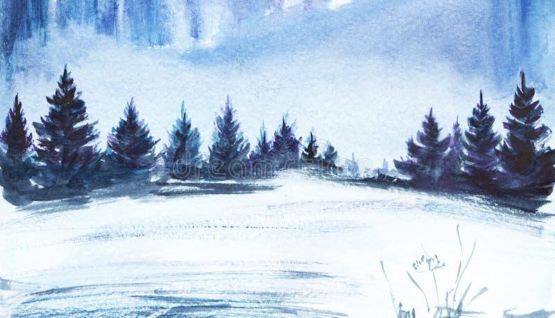 för ligganderussia för 33c januari ural vinter temperatur Frodig prydlig skog, snöig fält Hand dragen vattenfärgillustration stock illustrationer