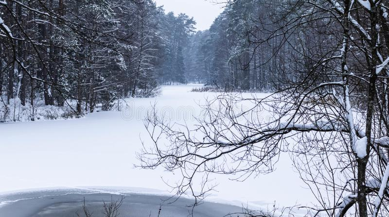för ligganderussia för 33c januari ural vinter temperatur Vinter lake royaltyfri fotografi