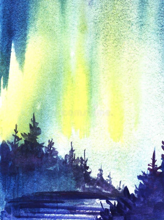 för ligganderussia för 33c januari ural vinter temperatur Mörk kontur av den prydliga skogen, snö-täckt dal abstrakt bakgrund tän vektor illustrationer