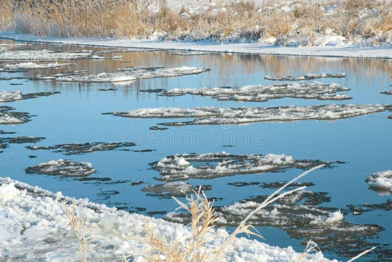 för ligganderussia för 33c januari ural vinter temperatur Reflexion av blå himmel i en flod royaltyfri bild