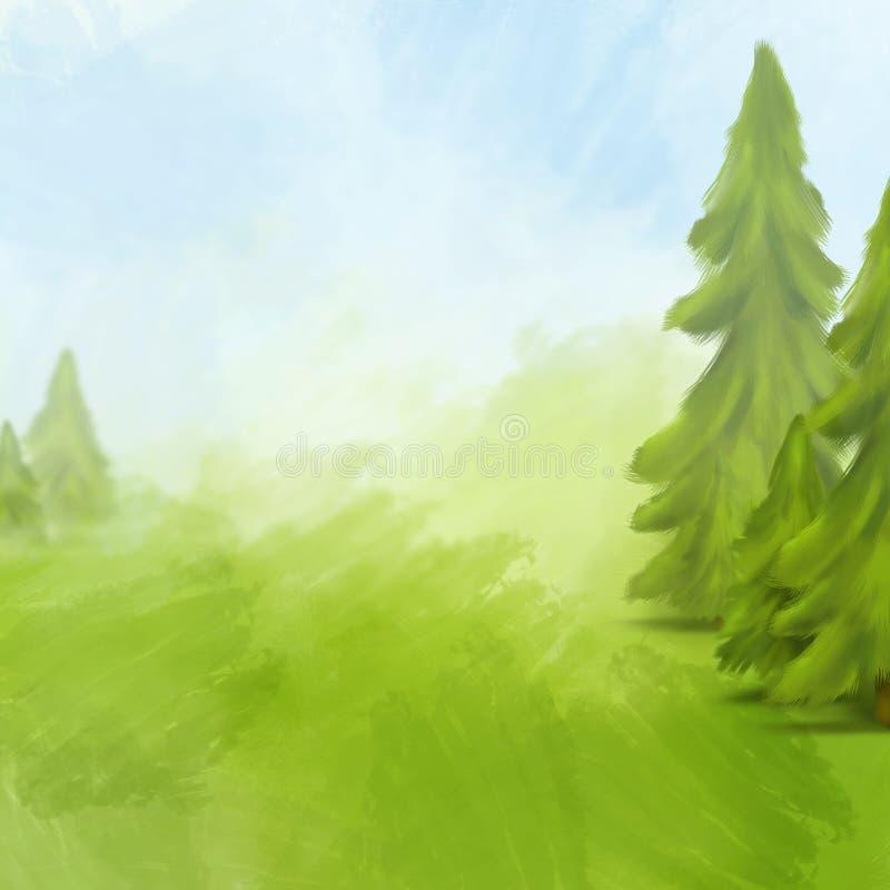 för liggandesky för gran gröna trees vektor illustrationer