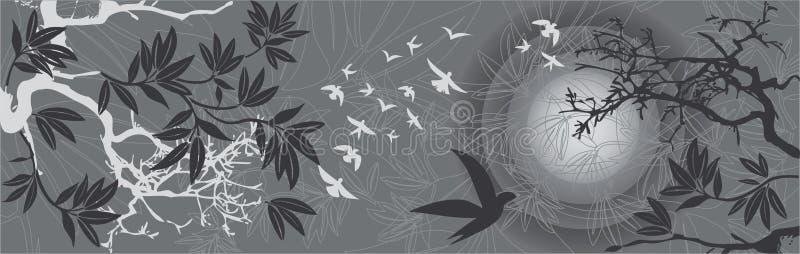 för liggandesolnedgång för fåglar östliga trees royaltyfri illustrationer