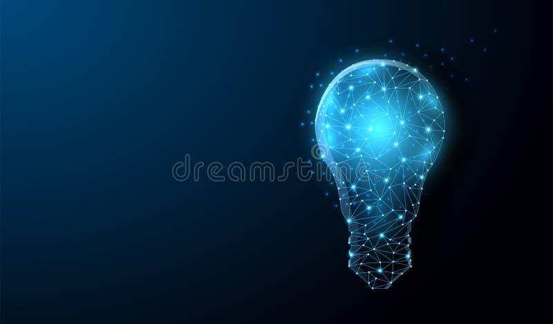 För Lightbulb poly design lågt med förbindande prickar, stjärnor Landet och mappen upload mappar över internet stock illustrationer
