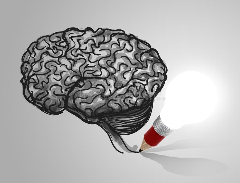 för lightbulbteckning för blyertspenna 3d hjärna royaltyfri illustrationer