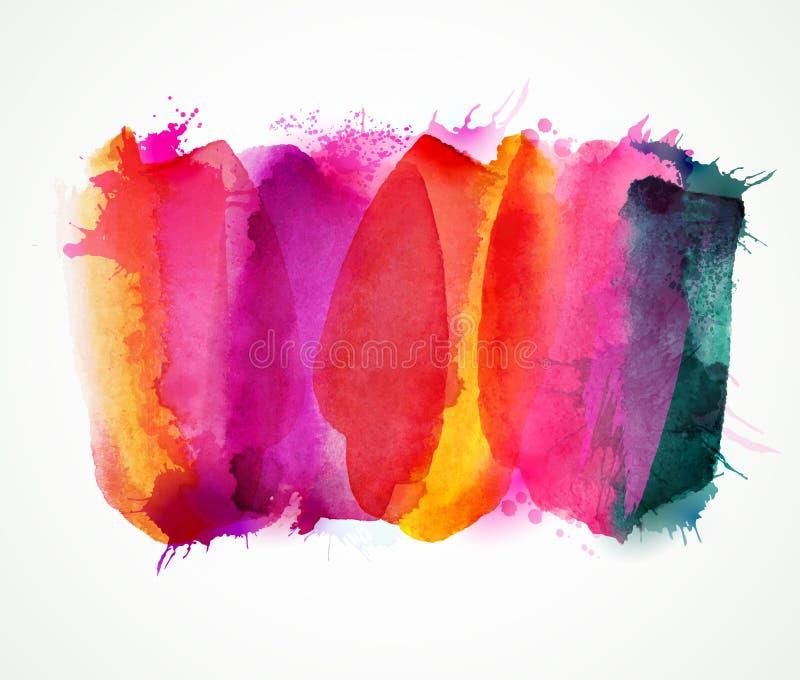 För lila, magentafärgade och rosa vattenfärgfläckar för lilor, Ljus färgbeståndsdel för abstrakt konstnärlig bakgrund royaltyfri illustrationer