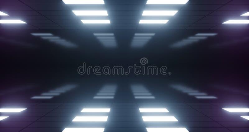 För lilarosa färger för modernt neon tänder den glödande blåa etappen för dansen den futuristiska skeppkorridoren för den mörka t royaltyfri illustrationer